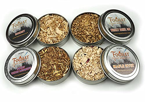 Foghat Fuel Sampler Four Pack | Whiskey Barrel Oak, Old Hickory, Sweet Texas Mesquite, Maple Myst Wood Shavings, 4 x 1oz | Cocktail and Culinary Wood Chips for Smoking