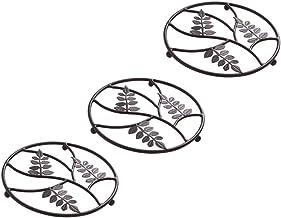 YARNOW 3pcs Cast Iron Trivet Mat Leaves Pattern Heat Resistant Hot Pot Insulation Mat Hot Pot Pan Dish Mat Table Heat Insu...