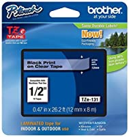 Genuine Brother 1/2 (12mm) Black on Clear TZe P-touch Tape for Brother PT-2100 PT2100 Label Maker [並行輸入品]