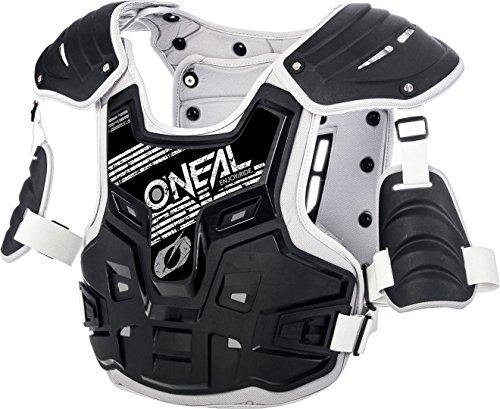 O'NEAL | Brust-Protektoren | Motocross Enduro | Aus Kunststoff-Spritzguss, Verstellbare Hüftgurte, Zertifiziert EN 14021 | PXR Stone Shield Brustpanzer | Erwachsene | Schwarz Grau | One Size
