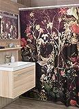 unknow Bloom Totenkopf Duschvorhang Blumenschädel Duschvorhang Deko Gothic Blumen Totenkopf Duschvorhang Home Decor Sugar Skull Badezimmer Dekor 127 x 178 cm