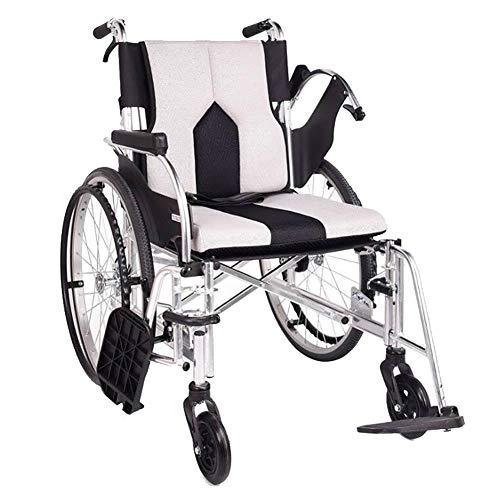 ANAN Lichtgewicht opvouwbare rolstoel met uitneembare armleuning en verhogende beensteunen, 19in stoel