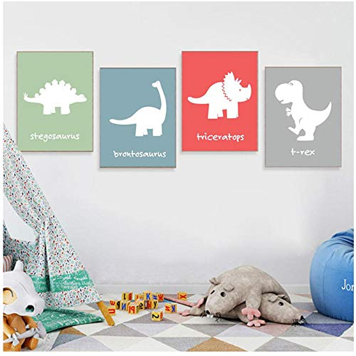 Rjunjie Canvas Art print Nordic Pictures Home Decoration Dinosaur Cartoon Paintings Wall Art Simple Prints Poster Hotel For Living Room(30x40 cmx4 no frame)