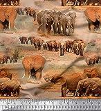 Soimoi Orange Samt Stoff Baum & Elefant Tier gedruckt Craft