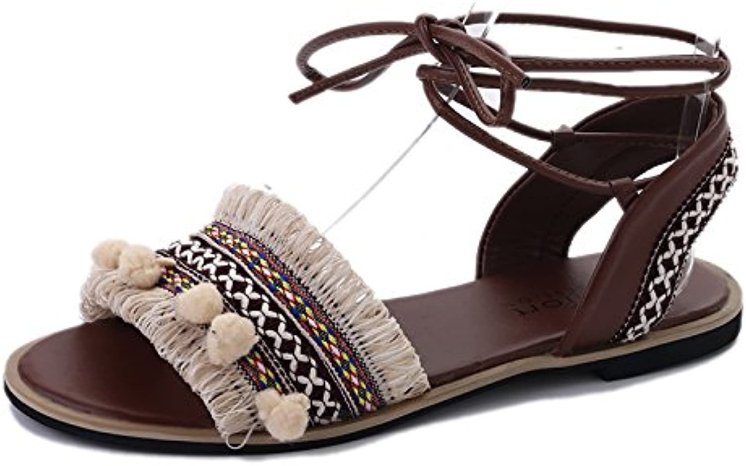 Ankle Strap Flat Sandals Open Toe Flat Sandals Fringe Cross-Tied Women Style Sandals
