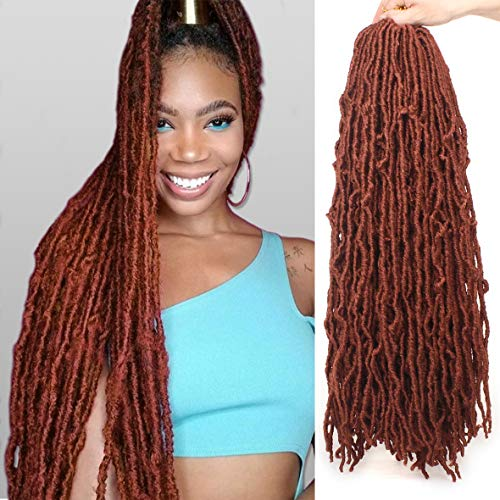 24 Inch Cooper Red New Faux Locs Crochet Braid Hair Curly Wavy Soft Locs Braid Hair 21 Strands Goddess Faux Locs Crochet Braid Synthetic Hair Extensions for Women (24 Inch, 350#)