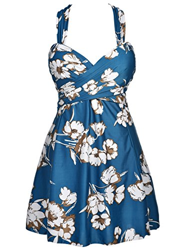 COCOPEAR Women's Elegant Crossover One Piece Swimdress Floral Skirted Swimsuit(FBA) Dark Prussian Blue Floral 5XL/24-26