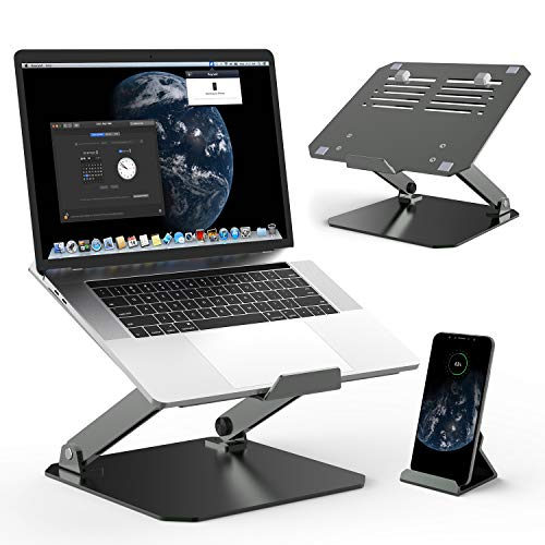 MiiKARE Aluminium Laptop Stand Riser with Phone Stand,Adjustable Height Multi-Angle Laptop Riser with Heat-Vent, Anti-Skid, Ergonomic Elevator Riser for M'acBook Pro/H'P Envy Up to 17-inch
