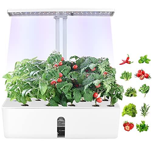 Kacsoo Indoor Herb Garden Kit, Hydroponic Growing System met verstelbare LED-verlichting, bamboe bloempot mand, circulatiepomp en voedingsstof poeder, voor binnenkeuken kruidentuin