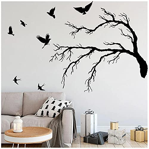 KBIASD Pegatina de pared de pájaro bandada de pájaros Mural rama de árbol calcomanías de vinilo decoración del hogar decoración autoadhesiva para sala de estar 42x63cm