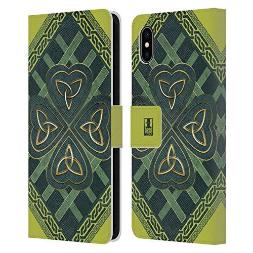 Head Case Designs Triquetra De Trinidad Trébol Celta Carcasa de Cuero Tipo Libro Compatible con Apple iPhone XS MAX