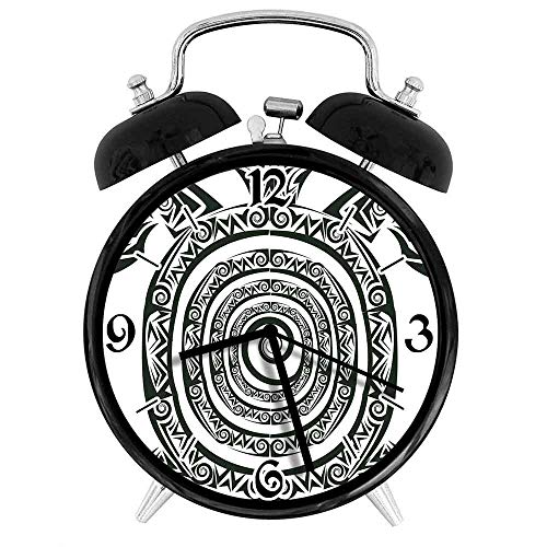 77 xiochgzish Reloj Despertador Digital Turtle Maori Tattoo Style Figura de Animal Marino en Forma de Espiral Tribal Antiguo Tropical Adecuado para Estudio de Dormitorio de Oficina