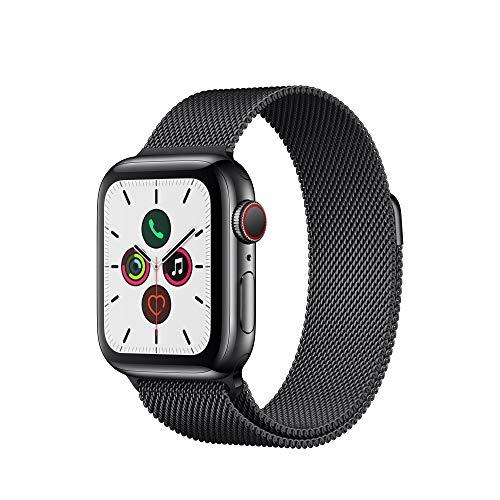 Apple Watch Series 5 (GPS+Cellular, 40 mm) Edelstahlgehäuse Space Schwarz - Milanaise Armband Space Schwarz