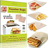 Grilled Cheese Toaster Bags Set of 3 - Non-stick Reusable Grill Cheese Tosta Bag - Toasted Sandwich Bags - Microwave Oven Toast Pouch - Toasta Maker - Toasting Toasters Sleeves by AZ-GRILL & kitchen