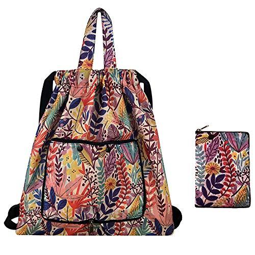 Van Caro Drawstring Backpack String Bag Foldable Cinch Tote Bag Gym Sack for Shopping Sport Yoga Flower