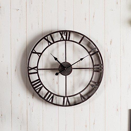 掛け時計 アンティーク調 おしゃれアイアンフレーム 丸型 壁掛け時計 大き目 見やすい 反射しない シンプル インテリア スチール製 タイプ c
