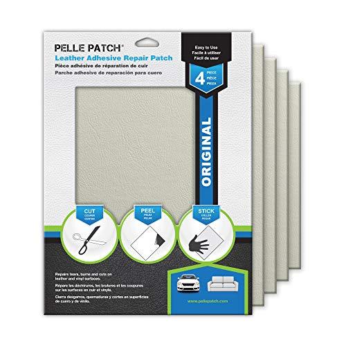Pelle Patch - 4X Parche Adhesivo de reparación para Cuero y Vinilo - Disponible en 25 Colores - Original 20cm x 28cm - Blanco Tiza