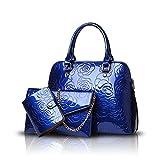 Tisdaini® Donna Borse a mano moda 3 pezzi vernice Borse a spalla Borse a tracolla Borse Tote Pochette e Clutch Blu