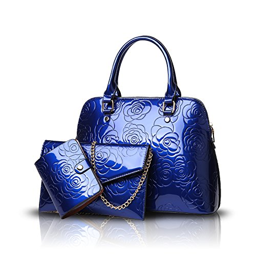 Tisdaini® Damenhandtaschen Mode Lackleder Schultertaschen Set 3 Stuck Shopper Umhängetaschen Brieftasche Blau