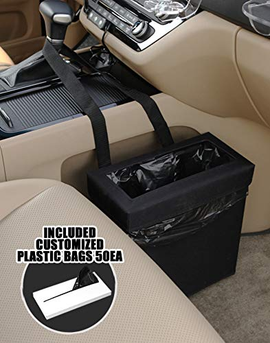 KMMOTORS Foldable Car Garbage Can Patented Car Wastebasket Comfortable Multifuntional Artificial Leather and Oxford Clothes Car Organizer Enough Storage for Garbage… (Aladdin Normal, Garbage Can)