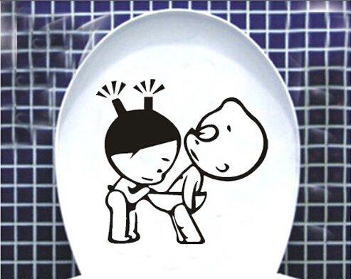 Bande dessinée drôle petit garçon et fille autocollant de toilette imperméable à l'eau