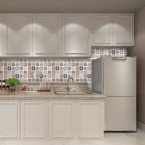 Decorflix Vinilo Azulejos Cocina baño rollo adhesivo papel pintado pared decoración hogar revestimiento impermeable cenefa recortable (Patrón ceramico fondo Beige, 60x300cm)