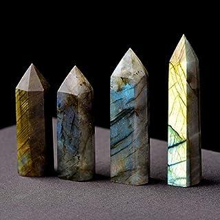 QZ Hot Labradorite Moonstone Quartz Crystal Gemstone Point Healing Hexagonal Wand (Color : 6-7cm)
