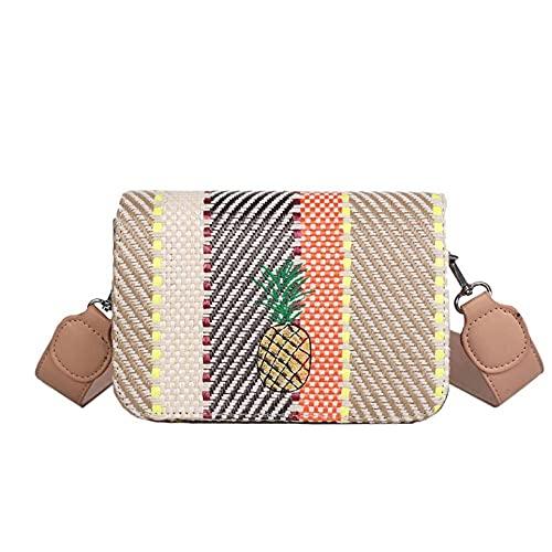 Nuevo bolso de verano para mujer, bolsos de paja de ratán de moda para mujer, bandolera de piña tejida para mujer, bolso de mensajero de viaje popular 13x7x20cm