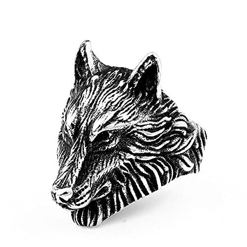 VUJK Anillos vikingos de color plateado Anillos de lobo de acero inoxidable 316L Anillos de joyería de animales de moda para hombre 9 Plata