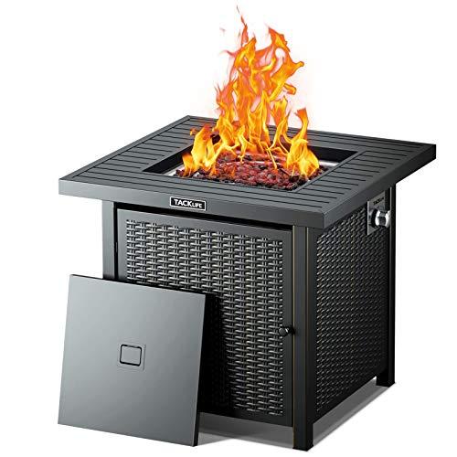 TACKLIFE Gas Feuerstelle, 50.000 BTU Outdoor Feuertisch 71x71x64CM, automatische Zündung, CSA-Zertifiziert, Stabiler Stahl & Lavastein & Deckel, ideal für Patio & Garten