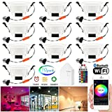 Smart Led Downlight Kit, FVTLED 10pcs WiFi Wireless Bluetooth 5W Dimmable Recessed Spot RGBWC Multicolor Color 5 in 1 Ceiling Spotlight with Remote Control & BT Mesh Smart Bridge