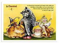 フランス製 キャットポストカード (le Chamical) ティータイム CPK129