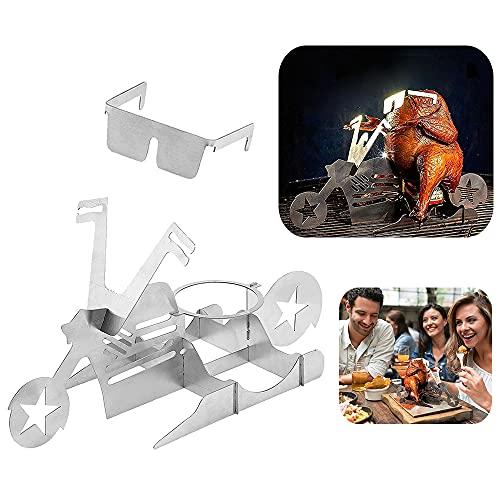 YingBiao Star Motorrad Bierdose Hühnerständer Halter BBQ Tool Edelstahl Rack mit Gläsern für Bräter Grill Grillofen Outdoor Camping Küche Zubehör