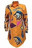 Bluewolfsea Women's Sexy Long Sleeve Floral Print Button-Down Mini Dress Shirt Blouse Large Orange