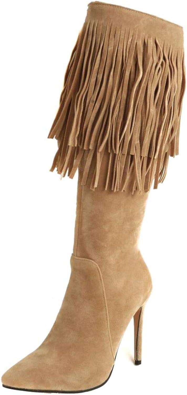 Lydee Women Fashion Stiletto Heels Knee High Boots Zipper