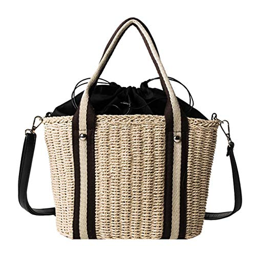Why Choose Leaf2you Women Drawstring Straw Bucket Bags Woven Basket Bag Shoulder Bag Handbag Crossbo...