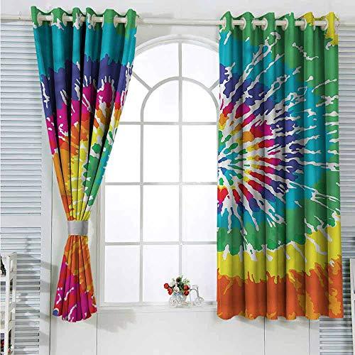 Rainbow Grommet Creative Blackout Curtains Rainbow Tie Dye Grunge Suitable for Bedroom Patio Sliding Door Cartoon Printed Nursery Room Boys Girls Bedroom Kids Room Living Room Dorm 55x39