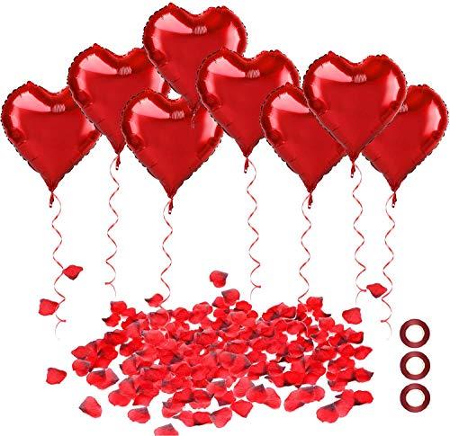 30Pcs 18 Pouce Rouge Coeur Ballons,1000Pcs Pétales de Rose Rouges,Accessoires de décoration Romantique Saint pour Valentin, Mariage, Fiançailles,la fête d'anniversaire