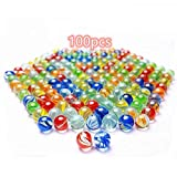 100 pcs Color Mixing Glass Marbles 16mm/0.63inch Kids Marble Games DIY and Home Decoration with Storage Tank