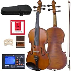 Size 16 inch viola, solid hand-carved spruce top, flamed maple back & sides, beautiful inlaid purfling & satin antique finish Strung with D'Addario Prelude Strings (Note: Does not include extra set of strings.) Ebony fingerboard, pegs, chinrest, and ...