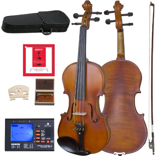 Cecilio CVA-500 Solidwood Ebony Fitted Viola with D'Addario Prelude Strings, Size 16-Inch