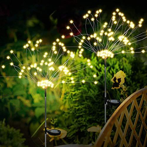 welltop FireworkSolarLights, Upgrade Creative Firework Solar Garden Lights, IP65 Waterproof 120 LED Solar Copper Wire String Lights with 2 Lighting Modes for Garden, Lawn, Courtyard, Balcony, 2 Pack