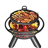 Kapler Fire Pit Burning Wood Grill, 37.5 Large Size Fire Pit with BBQ Grill, Camping Ranch Family Fire Pit Cooking Grill,Fire Pit Cover Equipped (26.1' x 29.7' x 37.5')