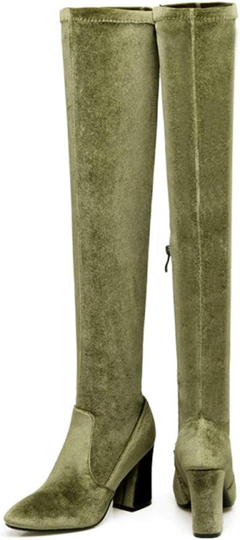 T -JULY -JULY -JULY Mode kvinnor Over The Knee stövlar Platform High klackar sammet Stretch Long skor  onlinebutik