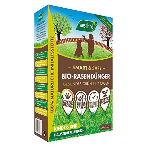 Westland Smart & Safe Bio Rasendünger mit Rasensamen, 100% natürliche Inhaltsstoffe, Sichtbarer Grüneffekt nach 7 Tagen, 2,8 kg, 80m²