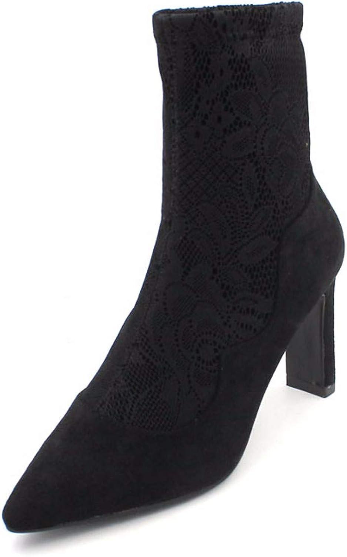 HBDLH Damenschuhe Das Dünne Stiefel Heel 8Cm Spitzen Mit Stiefeln Dicken Abstzen Spitze Kurze Stiefel