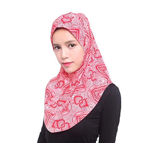 Deloito Muslim Eisseide Hijab Schal Damen Mode Elegant Kopftuch Hüte Islamischer Volldeckung Turban Wickelschal (Pink)