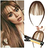 Clip in Bangs 100% Real Human Hair Front Neat Air Fringe One Piece Clip in Fringe Hair Extensions with Temples for Women (Light Chestnut Brown)