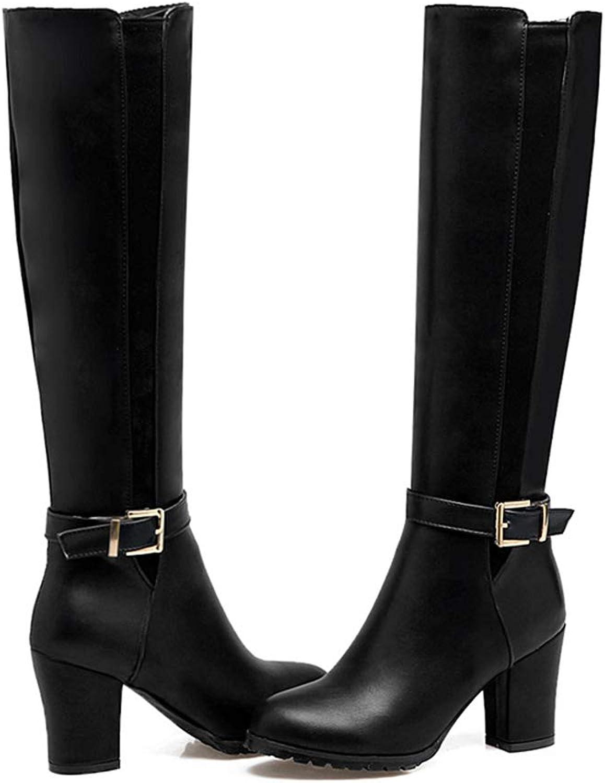 SENERY Women Knee High Boots Knight Thick High Heels Buckle Strap Zipper Winter Thigh High Booties