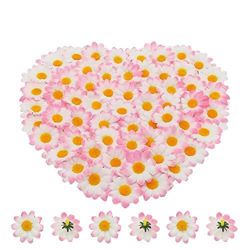 Bornfeel Fiori Margherite 100 Pezzi Fiori Finti Bomboniere Fiore Artificiale Corolla in Seta per Pasqua Tavola Cofano Matrimonio Festa Cerimonia Decorazione 38 x 38 x 20 mm Bianco & Rosa Chiaro